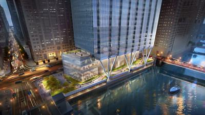 110 North Wacker Drive, riverwalk perspective © Goettsch Partners