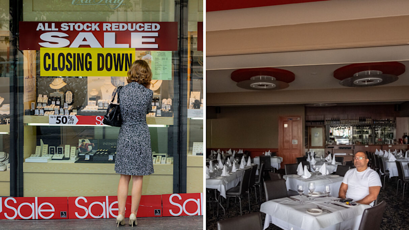 split pic of woman looking at sale, man in his restaurant