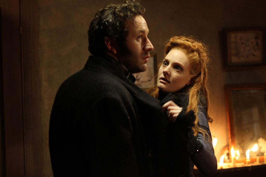 "Chris O'Dowd as William Rackham and Romola Garai as Sugar in ""The Crimson Petal and the White"" on Encore."