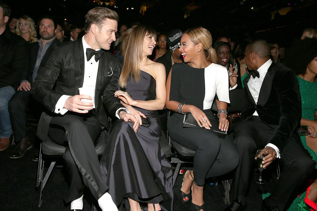 LOS ANGELES, CA - FEBRUARY 10:  (L-R) Singer Justin Timberlake, actress Jessica Biel, singer Beyonce and rapper Jay-Z attend the 55th Annual GRAMMY Awards at STAPLES Center on February 10, 2013 in Los Angeles, California.  (Photo by Christopher Polk/Getty Images for NARAS)