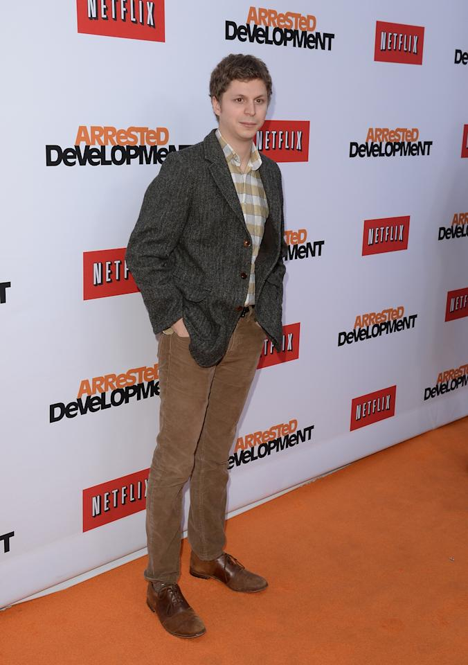 "HOLLYWOOD, CA - APRIL 29:  Actor Michael Cera arrives at the TCL Chinese Theatre for the premiere of Netflix's ""Arrested Development"" Season 4 held on April 29, 2013 in Hollywood, California.  (Photo by Jason Merritt/Getty Images)"