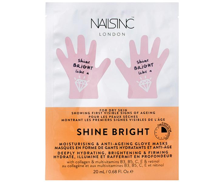"""Nails Inc. Shine Bright Moisturizing & Anti-Aging Hand Mask, $8; at <a rel=""""nofollow"""" href=""""http://www.sephora.com/shine-bright-moisturising-anti-aging-hand-mask-P417240?skuId=1899376&icid2=%20just%20arrived:p417240"""" rel="""""""">Sephora</a>"""