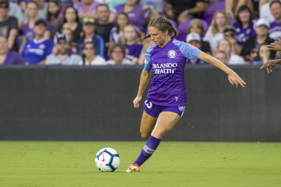 ORLANDO, FL - JULY 20: Orlando Pride midfielder Marisa Viggiano (23) kicks the ball during the soccer match between Sky Blue FC and the Orlando Pride on July 20, 2019, at Exploria Stadium in Orlando FL. (Photo by Joe Petro/Icon Sportswire via Getty Images)