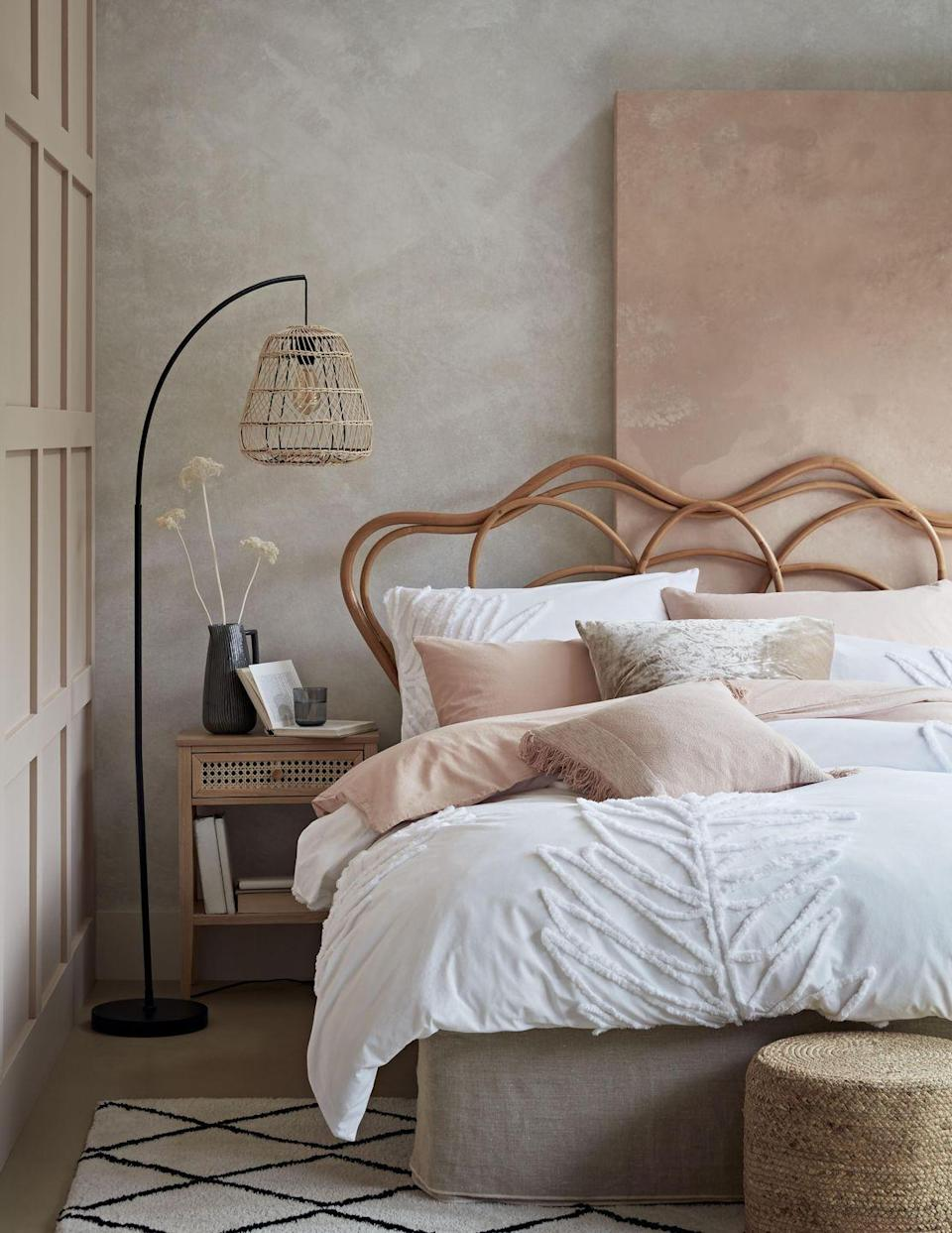"""<p>Create a pared-down look with wicker and rattan accessories. From on-trend lights to wicker bedside tables, these will complement any pink and grey bedroom scheme. Complete the look with a vase of <a href=""""https://www.housebeautiful.com/uk/decorate/display/a35418217/dried-flowers/"""" rel=""""nofollow noopener"""" target=""""_blank"""" data-ylk=""""slk:dried flowers"""" class=""""link rapid-noclick-resp"""">dried flowers</a>.</p><p>• Shop the look at <a href=""""https://www.habitat.co.uk/"""" rel=""""nofollow noopener"""" target=""""_blank"""" data-ylk=""""slk:Habitat"""" class=""""link rapid-noclick-resp"""">Habitat</a> </p>"""