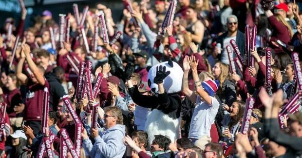 Fans of the Ottawa Gee-Gees get wild in the stands during the 2017 edition of the Panda Game between the University of Ottawa and Carleton. (Gord Weber - image credit)