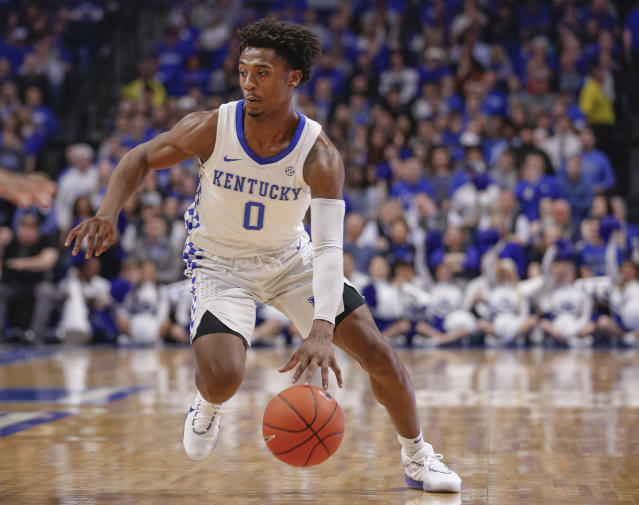 """Kentucky point guard <a class=""""link rapid-noclick-resp"""" href=""""/ncaab/players/147378/"""" data-ylk=""""slk:Ashton Hagans"""">Ashton Hagans</a> is """"in a bad way"""" and stepped away due to personal reasons, John Calipari said on Saturday. (Michael Hickey/Getty Images)"""