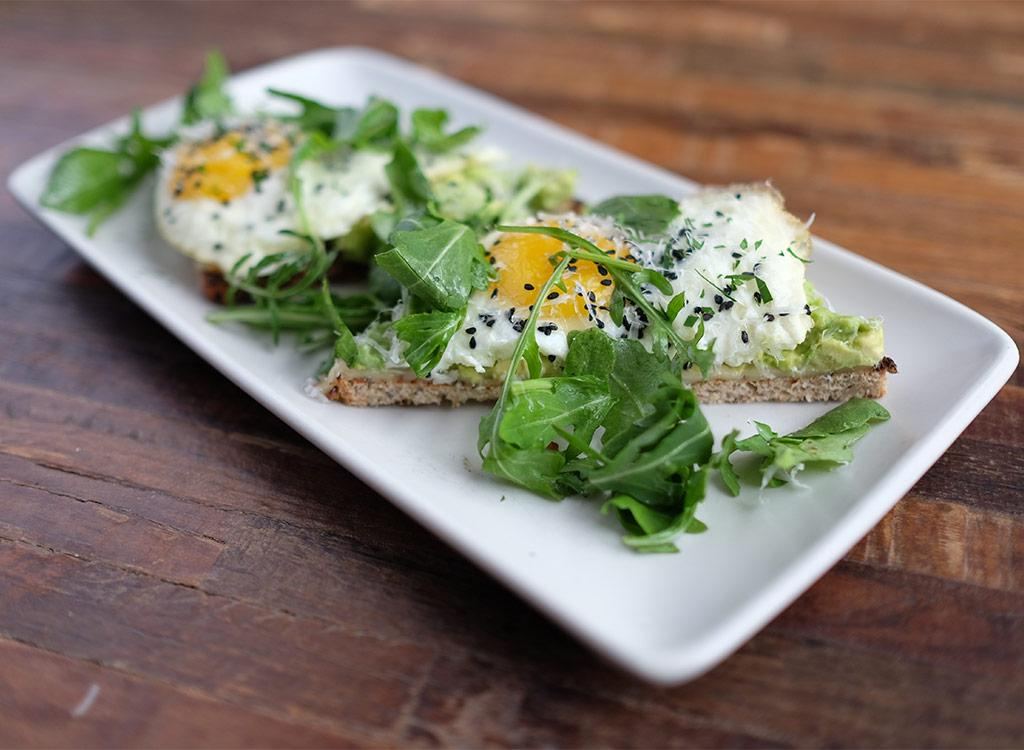 <div>590 calories, 41 g fat (10 g saturated fat), 1,310 mg sodium, 34 g carbs (10 g fiber, 7 g sugar), 25 g protein</div>         Trendy avocado toast gets upgraded with a sunny-side-up egg and black sesame topping. The savory breakfast also features smoked gouda and thyme and a solid dose of heart-healthy monounsaturated fats that will keep you full past your a.m. meal.