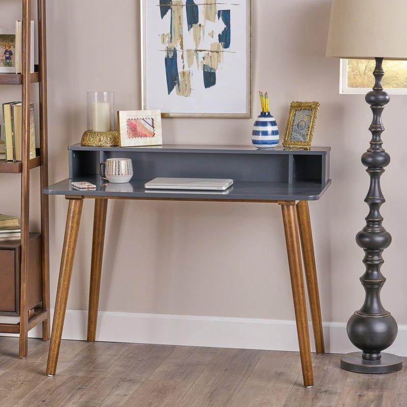 """<p><strong>George Oliver</strong></p><p>wayfair.com</p><p><strong>$195.99</strong></p><p><a href=""""https://go.redirectingat.com?id=74968X1596630&url=https%3A%2F%2Fwww.wayfair.com%2Ffurniture%2Fpdp%2Fgeorge-oliver-mid-century-writing-desk-golv5138.html&sref=http%3A%2F%2Fwww.bestproducts.com%2Fhome%2Fdecor%2Fg89%2Fsecretary-desks-small-spaces%2F"""" target=""""_blank"""">Shop Now</a></p><p>This two-toned secretary desk features a sleek, mid-century-inspired silhouette, pairing walnut-stained legs with a slate-gray top surface (also available in all wood). Its three cubbies and roomy surface space becomes a streamlined, yet endlessly versatile command center for your work-from-home setup.</p><p><strong>More: </strong><a href=""""https://www.bestproducts.com/lifestyle/g475/daily-planners-and-organizers/"""" target=""""_blank"""">Here's the Scheduling Swap All Forgetful People Should Make Right Now</a></p>"""