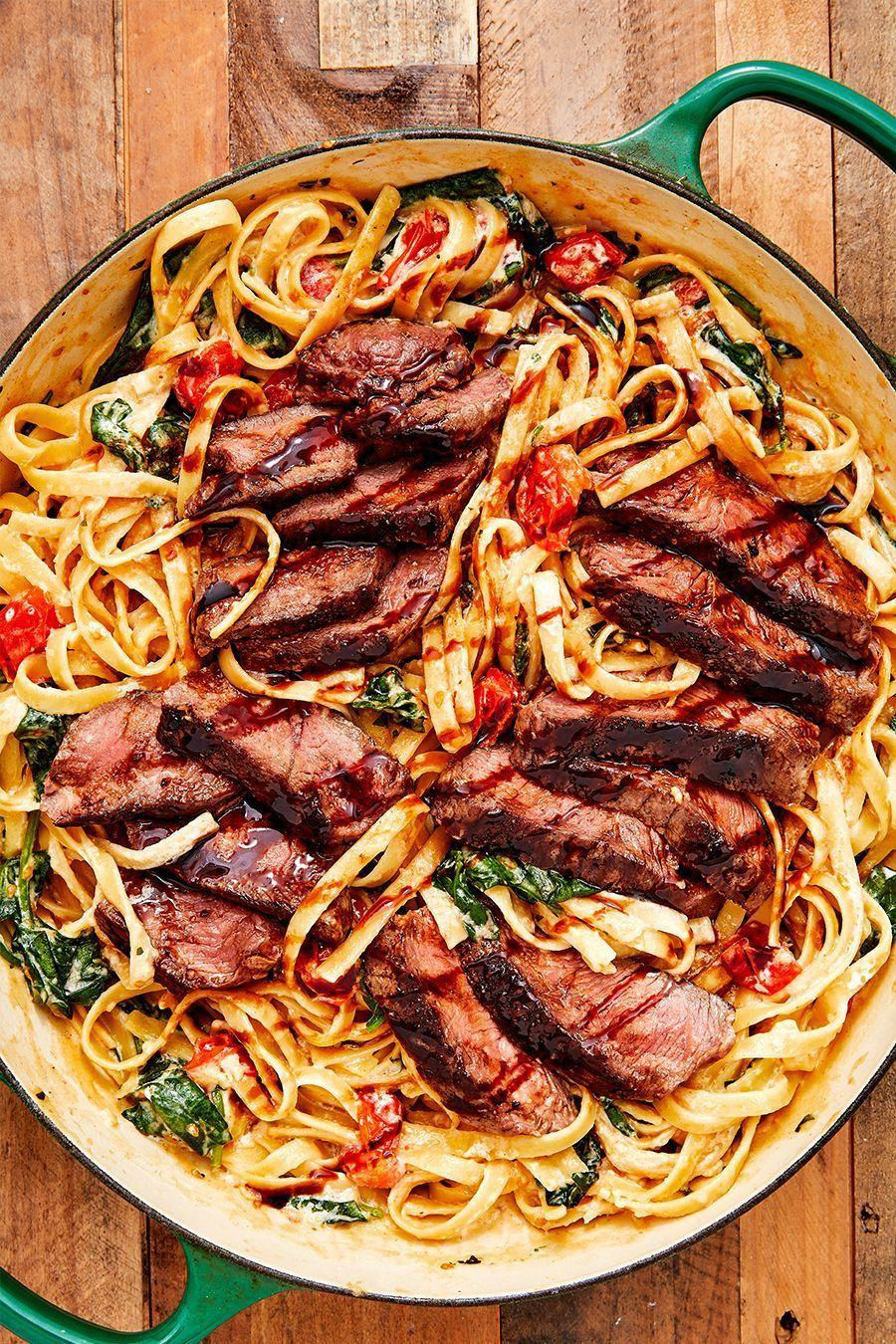 """<p>Whenever we crave <a href=""""https://www.delish.com/uk/food-news/a28961080/how-to-cook-steak/"""" rel=""""nofollow noopener"""" target=""""_blank"""" data-ylk=""""slk:steak"""" class=""""link rapid-noclick-resp"""">steak</a> this dish is always what we want to make. It comes together quickly and is so full of flavour. It makes us forget chicken ever existed. </p><p>Get the <a href=""""https://www.delish.com/uk/cooking/recipes/a30311517/creamy-steak-fettuccine-recipe/"""" rel=""""nofollow noopener"""" target=""""_blank"""" data-ylk=""""slk:Creamy Steak Fettuccine"""" class=""""link rapid-noclick-resp"""">Creamy Steak Fettuccine</a> recipe.</p>"""