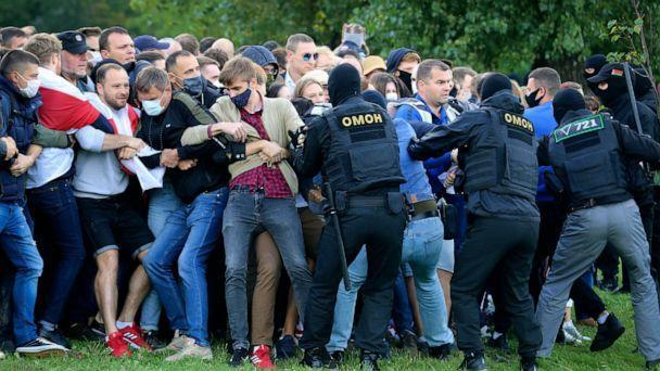 PHOTO: Police officers detain protesters during an opposition rally to protest the official presidential election results in Minsk, Belarus, Sept. 13, 2020. (Tut.by via AP)