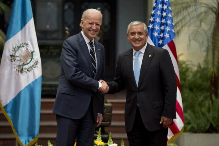 """<div class=""""inline-image__title""""> Guatemala US Biden </div> <div class=""""inline-image__caption""""> <p>""""U.S. Vice President Joe Biden, left, shakes hands with Guatemala's President Otto Perez Molina during a photo opportunity at the National Palace in Guatemala City, Monday, March 2, 2015. Joe Biden is starting a two day trip to meet with the leaders of Guatemala, El Salvador and Honduras regarding immigration issues. (AP Photo/Moises Castillo)""""</p> </div> <div class=""""inline-image__credit""""> Moises Castillo </div>"""