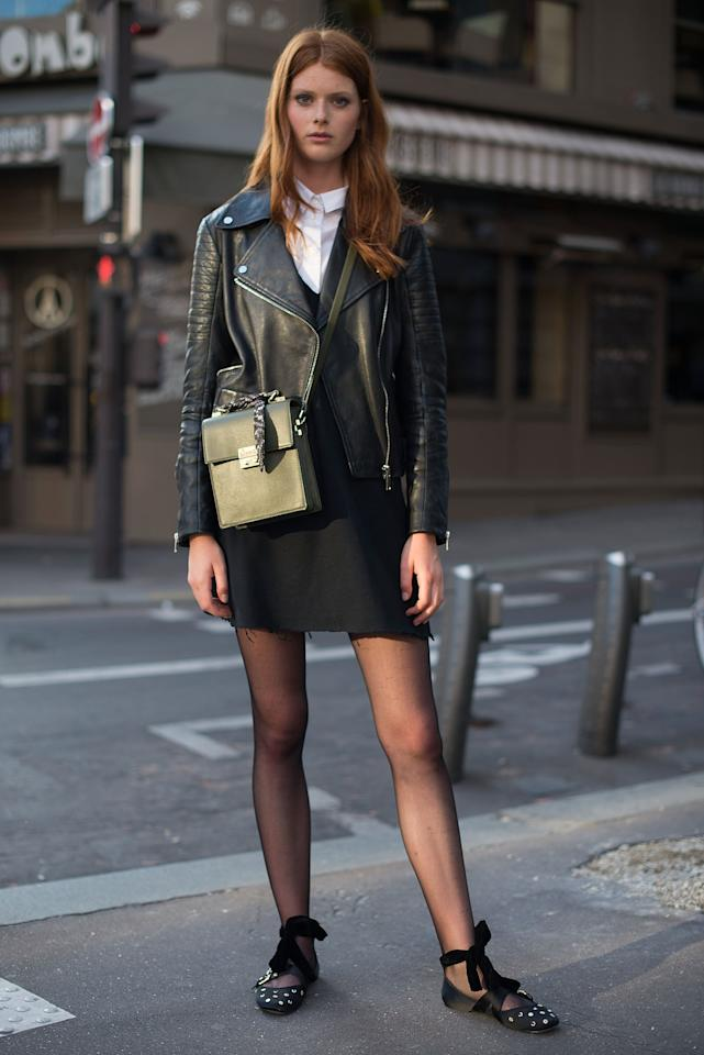 <p>That little black dress could use some layering-both under as well as over-as we style it atop a button-down shirt and throw a leather jacket on as a finishing touch.</p>