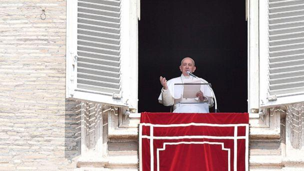 PHOTO: Pope Francis speaks from the window of the apostolic palace overlooking St. Peter's square during the weekly Angelus prayer on Sept. 1, 2019 at the Vatican. He had been stuck in an elevator for about 25 minutes. (Tiziana Fabi/AFP/Getty Images)
