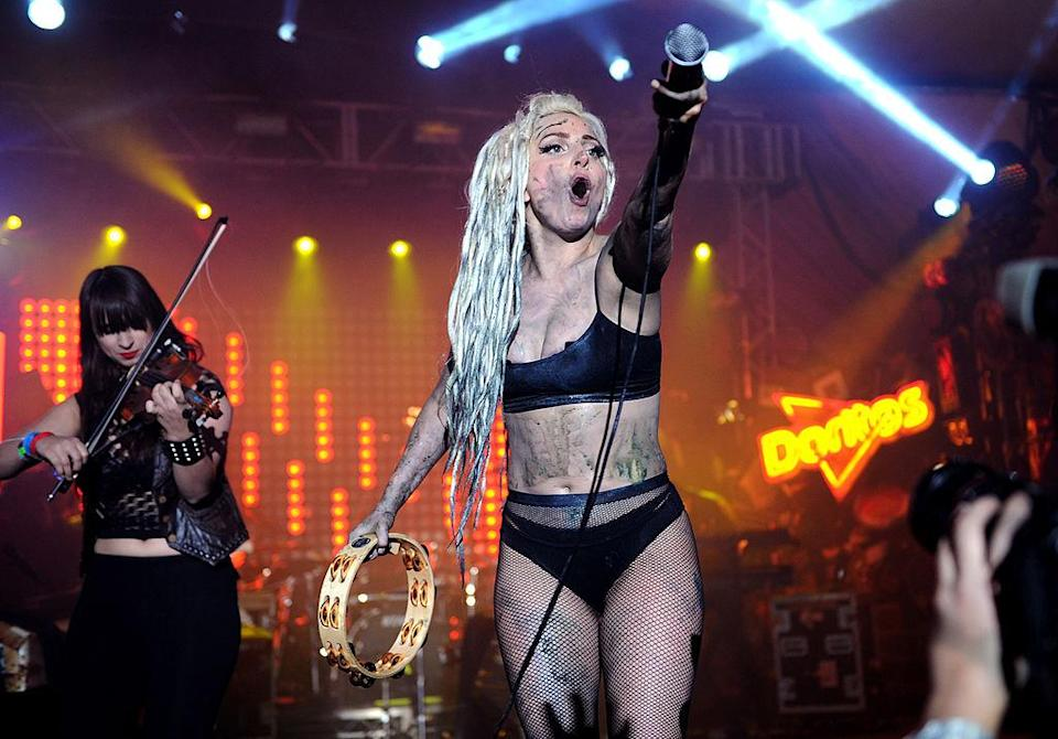AUSTIN, TX - MARCH 13: IMAGE DISTRIBUTED FOR FRITO-LAY - Lady Gaga performs on the Doritos #BoldStage at Stubb's Bar-B-Q in an exclusive performance celebrating her Born This Way Foundation on Thursday, March 13, 2014 at the South by Southwest Music Festival in Austin, Texas. The performance was only accessible for fans that proved their boldness by completing a Doritos Bold Mission. (Photo by Kevin Mazur/WireImage)