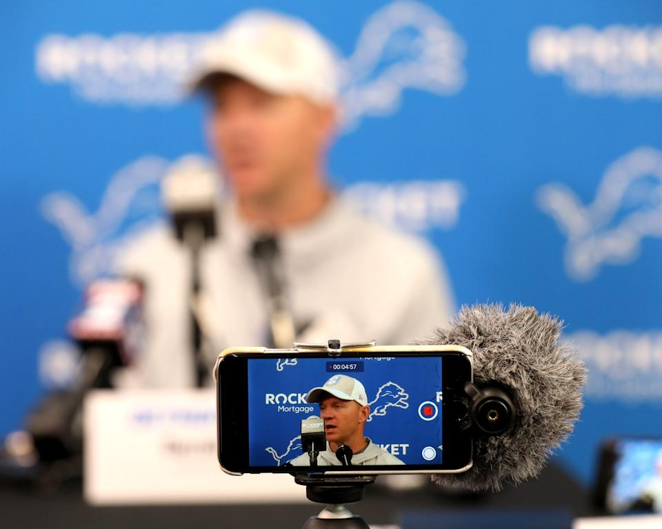 Lions offensive coordinator Darrell Bevell talks with the media during the first day of training camp at the Lions practice facility in Allen Park on Wednesday, July 24, 2019.