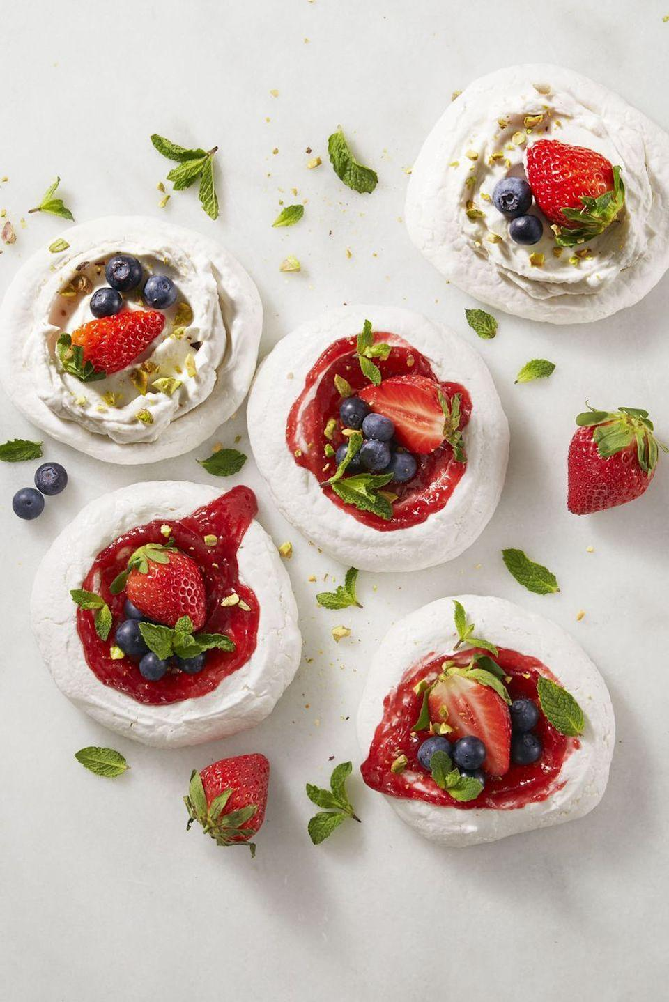 "<p>Save the eggs for dyeing and decorating: This recipe uses chickpeas instead, which makes it 100% vegan. </p><p><em><a href=""https://www.goodhousekeeping.com/food-recipes/a38871/magic-mini-pavlovas-recipe/"" rel=""nofollow noopener"" target=""_blank"" data-ylk=""slk:Get the recipe for Magic Mini Pavlovas »"" class=""link rapid-noclick-resp"">Get the recipe for Magic Mini Pavlovas » </a></em> </p>"