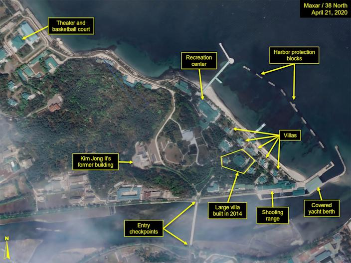 What is described by Washington-based North Korea monitoring project 38 North as a leadership train station servicing North Korean leader Kim Jong Un's Wonsan complex is seen in a satellite image with graphics taken over Wonsan, North Korea April 21, 2020.