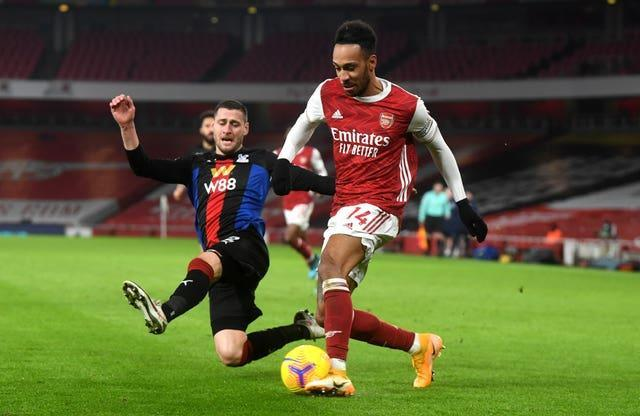 Pierre-Emerick Aubameyang had an early opportunity for Arsena
