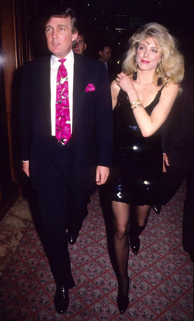 <p>Donald Trump and Marla Maples at Trump Plaza in Atlantic City for the Evander Holyfield vs. George Foreman fight on April 19, 1991. <i>(Photo: Tom Wargacki/WireImage)</i> </p>