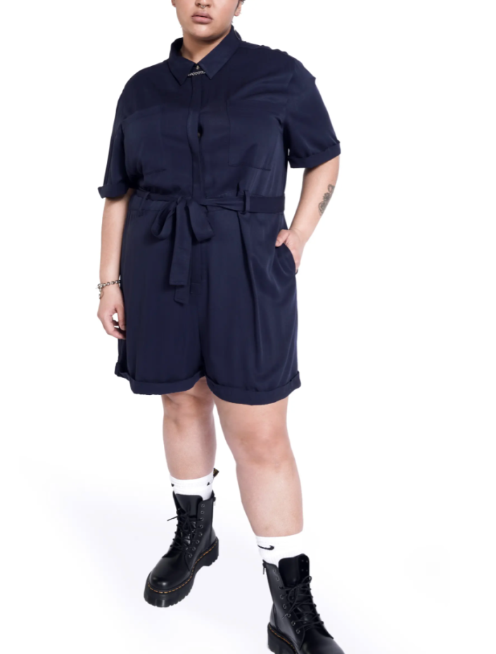 Short Sleeve Romper with Removable Belt in Navy (Photo via Nordstrom)