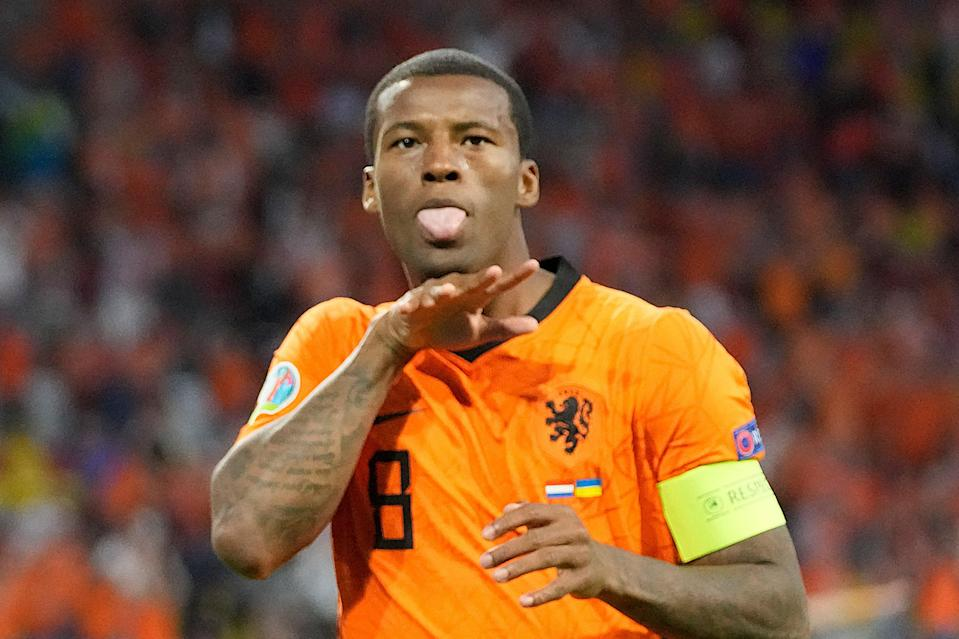Stand-in captain Georginio Wijnaldum scored the Netherlands' first goal against Ukraine on Sunday (POOL/AFP via Getty Images)