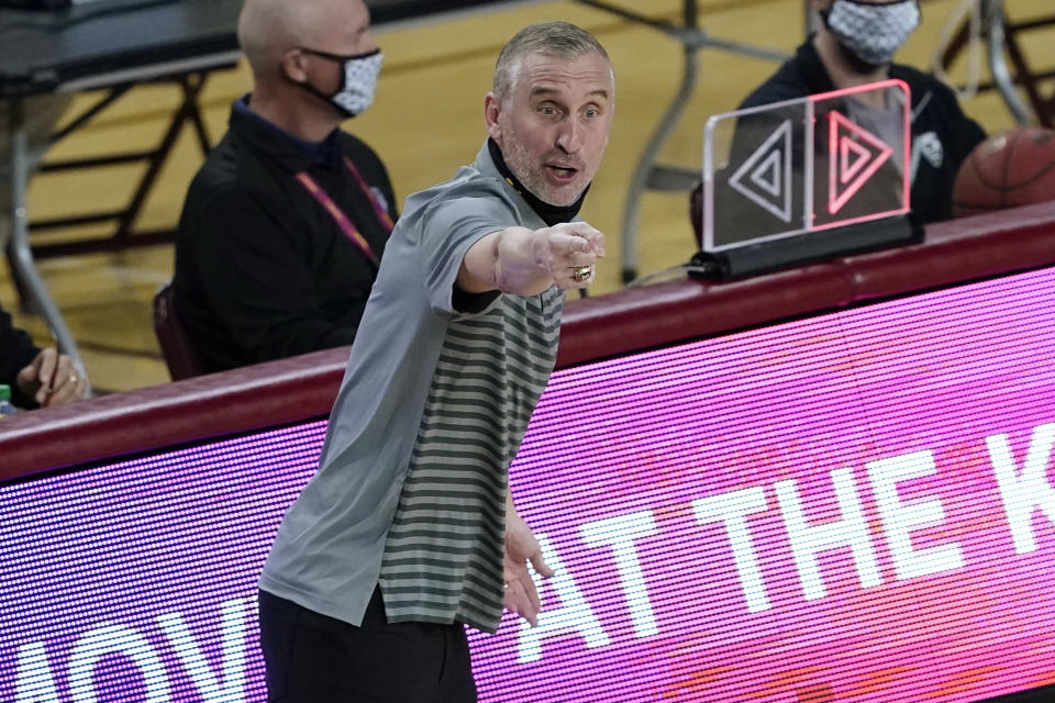 Arizona State coach Bobby Hurley yells during the first half of the team's NCAA college basketball game against Stanford, Saturday, Jan. 30, 2021, in Tempe, Ariz. (AP Photo/Matt York)