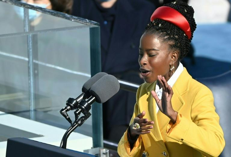 National youth poet laureate Amanda Gorman, pictured at President Joe Biden's inauguration on January 20, 2021, became the first-ever poet to perform at the National Football League championship, America's most-watched broadcast of the year