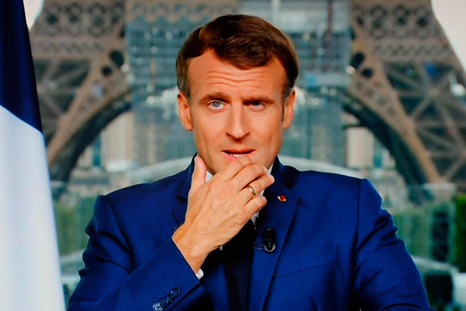 Macron  gives televised address to the nation on July 12 (AFP via Getty Images)