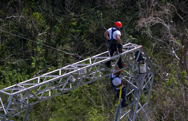 Whitefish Energy Holdings workers restore power lines damaged by Hurricane Maria in Barceloneta, Puerto Rico. The Federal Emergency Management Agency said Oct. 27 that it had no involvement in the decision to award a $300 million contract to help restore Puerto Rico's power grid to a tiny Montana company in Interior Secretary Ryan Zinke's hometown, Oct. 15, 2017. (Photo: Ramon Espinosa/AP)