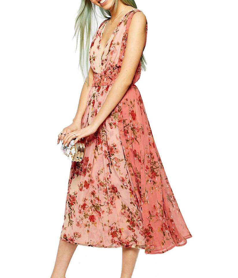 """<p>$121, <a href=""""http://www.asos.com/asos/asos-ombre-pretty-floral-midi-prom-dress/prod/pgeproduct.aspx?iid=6377494&clr=Multi&SearchQuery=floral+dress&pgesize=36&pge=0&totalstyles=1743&gridsize=3&gridrow=10&gridcolumn=1"""">asos.com</a><br /><br /></p>"""