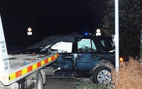 The Duke of Edinburgh's car after it was involved in a collision at Babingley, Norfolk - Credit: Chris Bishop/Archant