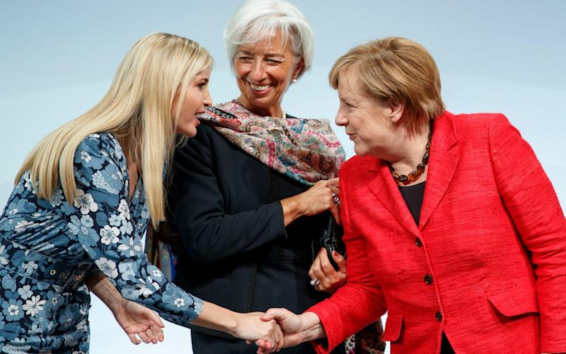 Ivanka meets Managing Director of the International Monetary Fund Christine Lagarde and German Chancellor Angela Merkel - Credit: CARSTEN KOALL /EPA