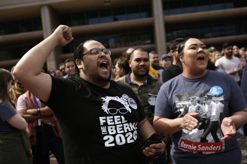 Supporters of Democratic U.S. presidential candidates Senator Bernie Sanders cheer for Sanders outside his campaign rally in El Paso, Texas, U.S., February 22, 2020. (Jose Luis Gonzalez/Reuters)