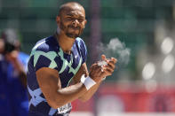 Garrett Scantling celebrates during the decathlon shot put at the U.S. Olympic Track and Field Trials Saturday, June 19, 2021, in Eugene, Ore. (AP Photo/Charlie Riedel)