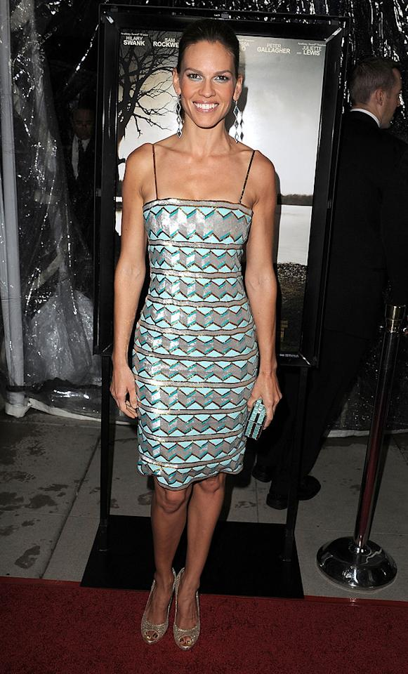 """<a href=""""http://movies.yahoo.com/movie/contributor/1800020739"""">Hilary Swank</a> at the Los Angeles premiere of <a href=""""http://movies.yahoo.com/movie/1810071450/info"""">Conviction</a> on October 5, 2010."""