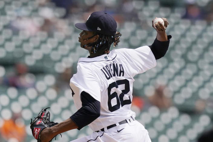Detroit Tigers starting pitcher Jose Urena throws during the first inning of the first baseball game of a doubleheader against the Minnesota Twins, Saturday, July 17, 2021, in Detroit. (AP Photo/Carlos Osorio)