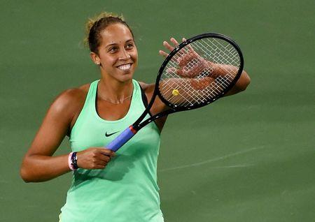 Mar 13, 2017; Indian Wells, CA, USA; Madison Keys (USA) acknowledges the crowd after she defeated Naomi Osaka (not pictured) in her third round in the BNP Paribas Open at the Indian Wells Tennis Garden. Mandatory Credit: Jayne Kamin-Oncea-USA TODAY Sports