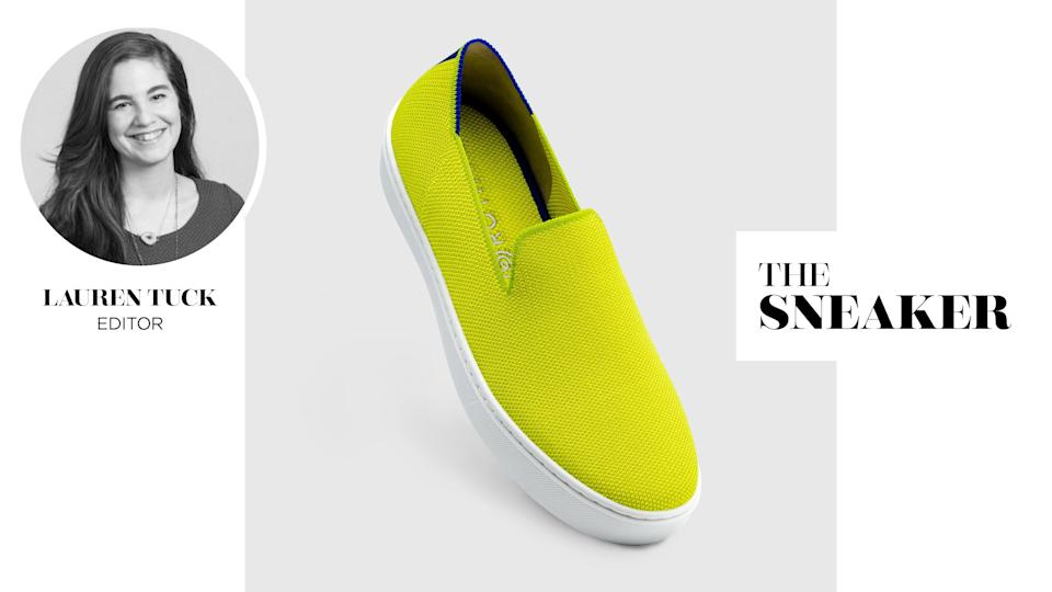Yahoo Lifestyle Editor Lauren Tuck reviews Rothy's the Sneaker in Electric Lemon. (Photo: Rothy's)
