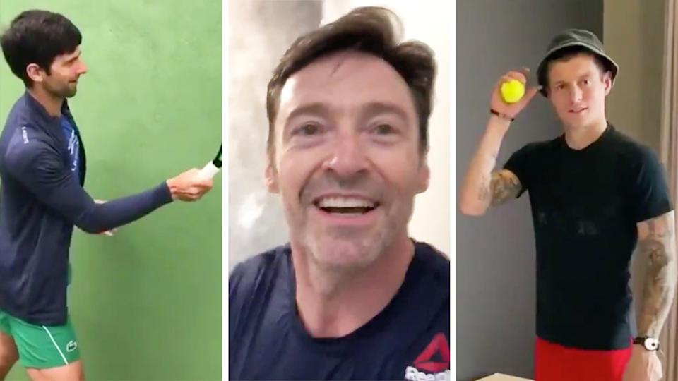 Novak Djokovic (pictured left) hits a tennis ball, Australian actor Hugh Jackman (pictured middle) smiles and runs and Real Madrid midfielder Toni Kroos (pictured right) holds a tennis ball.