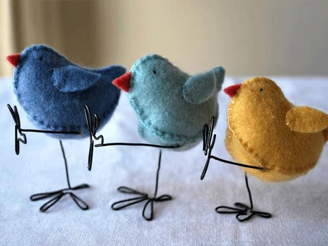 """<p>These adorable felt Easter chicks can be molded into any position you like (these ones are dancing!). For a more kid-friendly crafting version, you can omit the wire legs.</p><p><strong>Get the tutorial at <a href=""""http://www.myrtleandeunice.com/2011/04/how-to-make-easter-chick.html"""" rel=""""nofollow noopener"""" target=""""_blank"""" data-ylk=""""slk:Myrtle and Eunice"""" class=""""link rapid-noclick-resp"""">Myrtle and Eunice</a>.</strong></p>"""