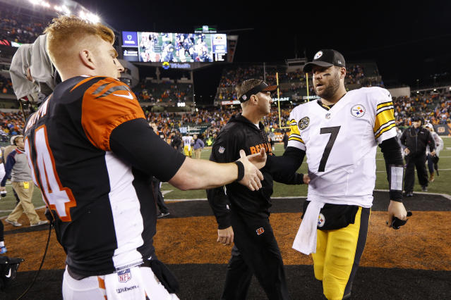 Bengals QB Andy Dalton and Steelers QB Ben Roethlisberger will duel in an AFC North clash on Sunday. (AP)