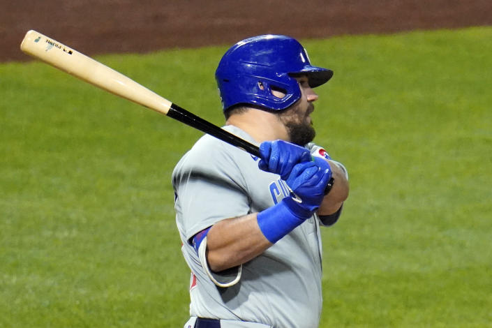 Chicago Cubs' Kyle Schwarber drives in two runs with a double to deep right center field off Pittsburgh Pirates starting pitcher Blake Cederlind during the eighth inning of a baseball game in Pittsburgh, Monday, Sept. 21, 2020. (AP Photo/Gene J. Puskar)