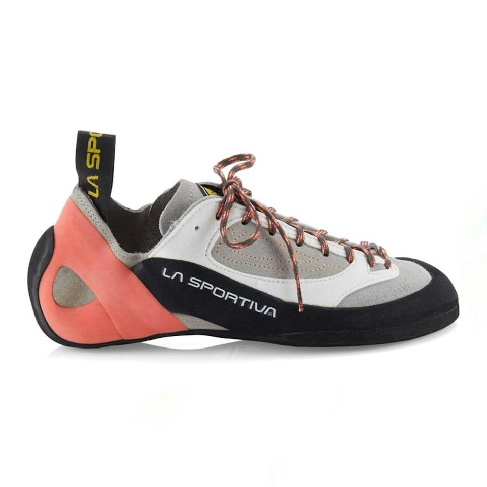 "Alex Honnold inspired a new wave of climbers—and if you're one of 'em, consider buying your own climbing shoes. You might be hesitant if you're just starting out, but it's a worthwhile investment if you keep up with your new hobby. Climbing shoes have a totally unique design that's meant to help your foot grip the wall or boulder better. The arched design takes a minute to get used to, but the good thing is that the shoe conforms to your foot over time as opposed to a rented climbing shoe that too-many-people-to-count have worn and sweated in. PS: You're supposed to wear climbing shoes sans socks so maybe add some <a href=""https://www.amazon.com/Sof-Sole-Sneaker-Locker-Deodorizer/dp/B003IJ6HFM"" rel=""nofollow noopener"" target=""_blank"" data-ylk=""slk:sneakers balls"" class=""link rapid-noclick-resp"">sneakers balls</a> to cart. $109, REI. <a href=""https://www.rei.com/product/896625/la-sportiva-finale-climbing-shoes-womens"" rel=""nofollow noopener"" target=""_blank"" data-ylk=""slk:Get it now!"" class=""link rapid-noclick-resp"">Get it now!</a>"