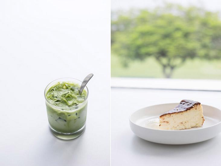Not into coffee? How about an iced matcha and a slice of burnt cheesecake?