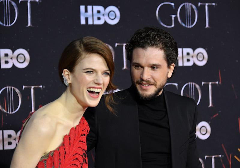 Rose Leslie and Kit Harington at the premiere of Game Of Thrones' final series (Photo: Mike Coppola via Getty Images)