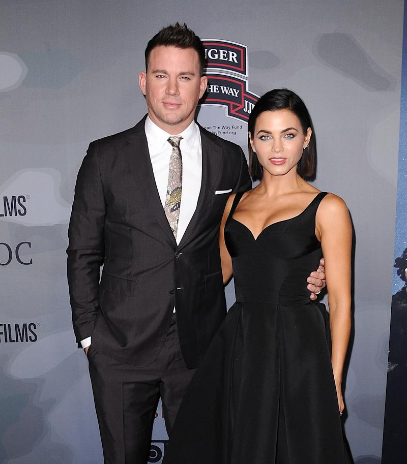 "LOS ANGELES, CA - NOVEMBER 06: Channing Tatum and Jenna Dewan Tatum attend the premiere of ""War Dog: A Soldier's Best Friend"" at Directors Guild Of America on November 6, 2017 in Los Angeles, California. (Photo by Jason LaVeris/FilmMagic)"