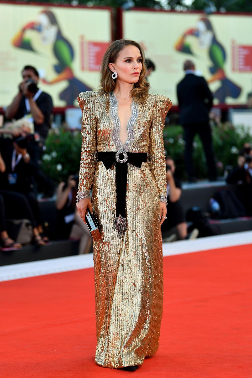 <p>Actress Natalie Portman side-stepped Dior and instead chose an instantly recognisable Alessandro Michele for Gucci number. Just look at those power shoulders… <em>[Photo: Getty]</em> </p>
