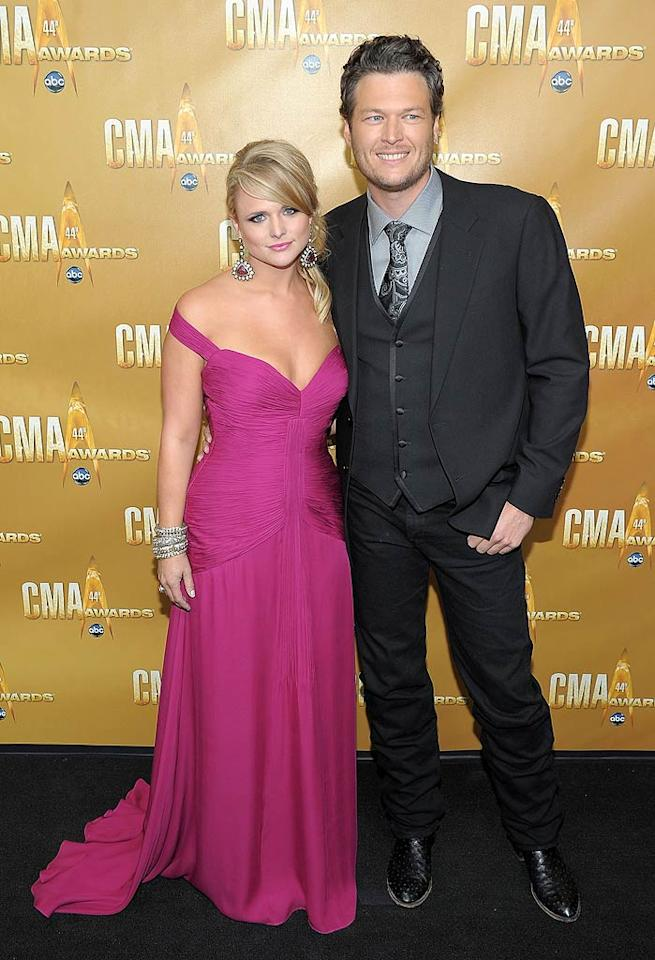 """Country couple Miranda Lambert and Blake Shelton -- who were both nominated for multiple awards -- played it safe on the red carpet in looks that failed to impress. Luckily the talented twosome wasn't the worst-dressed duo of the night. Michael Loccisano/<a href=""""http://www.wireimage.com"""" target=""""new"""">WireImage.com</a> - November 10, 2010"""