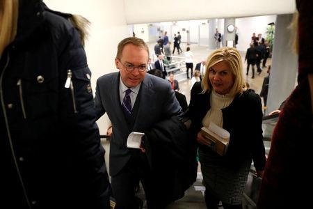White House Office of Management and Budget (OMB) Director Mick Mulvaney arrives for meetings at the U.S. Capitol in Washington, U.S. January 18, 2018.  REUTERS/Jonathan Ernst
