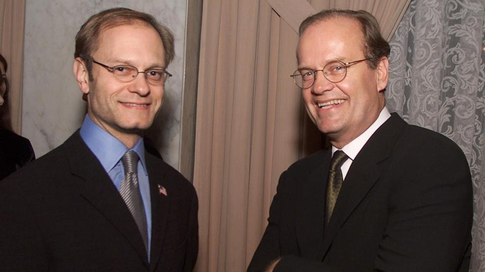 David Hyde Pierce and Kelsey Grammer at the American Jewish Committee's gala honoring NBC's Scott Sassa with the Dorothy and Sherrill C.